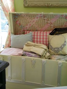 Storage Trunk Makeover  the colours may be off for your taste, but the idea is fun