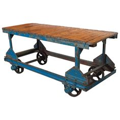 Industrial French Factory Cart as Console with Original Patina | From a unique collection of antique and modern console tables at https://www.1stdibs.com/furniture/tables/console-tables/