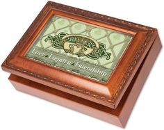 Cottage Garden Irish Love Loyalty Claddagh Woodgrain Music Box  Jewelry Box Plays Thats an Irish Lullaby -- Want additional info? Click on the image.