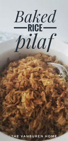 Perfectly seasoned and simple rice pilaf. Perfect basic recipe to adjust to fit taste preferences or ingredients available. Use orzo instead of vermicelli or brown rice instead of white. Add vegetables or switch to what broth you like best. Baked Rice Pilaf Recipe, Oven Baked Rice, Brown Rice Recipes, Vegetable Fried Rice, Vegetable Sides, Orzo, Brown Rice Pilaf, Rice In The Oven, Healthy Vegetarian Recipes