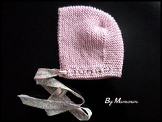 Bonnet - béguin rétro vintage romantique tricoté main (3 mois) en laine  douce bébé 39e0d78b10b