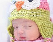 Baby Girl, Owl Hat, Crochet Baby Hat, Owl, Baby Girl Owl Hat, Photo Prop, Photography Prop MADE TO ORDER