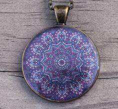 Purple Mandala Necklace - Sacred Geometry Pendant - Hippie Gypsy Boho Style