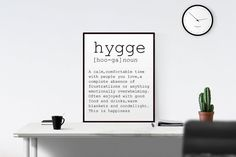 Hygge Definition Printable Poster Funny Wall Art by TypoWorld