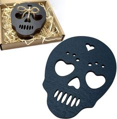 Marolen Black Skull Wooden Coasters - This Spooky Gothic Decor ...