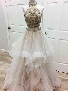 A-line Prom Dress High Neck Tulle Long Prom Dresses/Evening Dress SKY178
