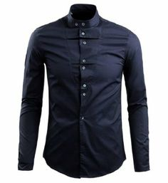 Men's Stand-up Collar Long Sleeve Solid Formal Dress Shirt