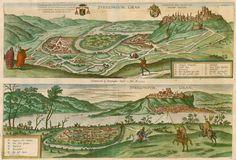 Joris Hoefnagel : Antique map of (Hungary) Esztergom by Braun & Hogenberg 1595 ヨリス・ヘフナゲル Pictorial Maps, Orbis, Antique Maps, Archetypes, Botanical Prints, 16th Century, Hungary, Landscape Paintings, Vintage World Maps