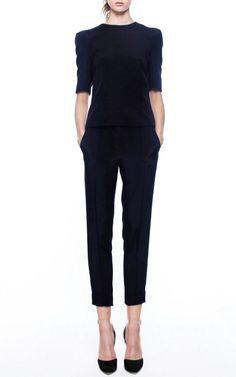 Black top, tailored pants and simple black heels. Stylish minimalist work / dressy outfit. Haryono Setiadi Trunkshow Look 5 on Moda Operandi