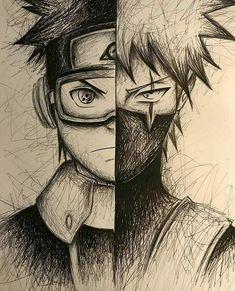 Manga Drawing Kakashi and Obito Fan Drawing Naruto Drawings, Kakashi Drawing, Anime Drawings Sketches, Anime Sketch, Naruto Sketch Drawing, Pencil Drawings, Anime Naruto, Naruto Shippuden Anime, Naruto Art
