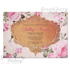 Shabby Vintage Pink Floral Invitation  by GreenCherryFactory, $18.00