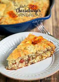 Bacon Cheeseburger Cornbread - comfort food at its best! Homemade Southern buttermilk cornbread loaded with hamburger meat, bacon…