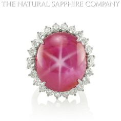 Natural Pink Sapphire Ring Gold Jewelry with the star of India.  J3378 Front