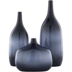 Modern Style Vase Set - Materials: 100% Ceramic - Country of Origin: China - Dimensions: 6.7-Inch x 5.25-Inch x 18-Inch , 5.85-Inch x 4.6-Inch x 15-Inch , 9.45-Inch x 5.45-Inch x 8-Inch - Set of 3 Vases - 6.7-Inch x 5.25-Inch x 18-Inch - 5.85-Inch x 4.6-Inch x 15-Inch - Length: 6.7-Inch, 5.85-Inch and 9.45-Inch - 9.45-Inch x 5.45-Inch x 8-Inch Surya - SPA001-SET | Surya SPA001-SET Sparta Vases, Set of 3 in Blue, Contemporary & Modern | Bellacor Decor, Blue Decor, Blue Vase, Accent Decor, Modern Ceramics, Vase Set, Accent Furniture, Surya Rugs, Vases Decor