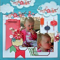 Hmmmmm... Lovin' the clouds with flowering branches!  This cute layout would be adorable (with branches of cherry blossoms) for a Cherry Blossom Festival layout!