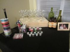 Decorate a wine glass - AWESOME shower - don't look Kris, this is what we are doing