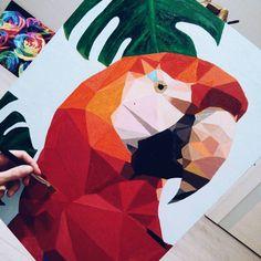 """Картина """"Какаду"""", акриловые краски, поп-арт, размер 40*50  см"""
