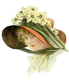 Vintage lady with floral bonnet
