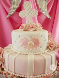 Pink baptism party cake! See more party ideas at CatchMyParty.com!