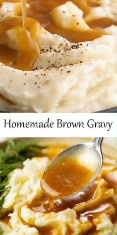 Mashed Potato Gravy Recipe, Beef Gravy Recipe, Homemade Gravy Recipe, Brown Chicken Gravy Recipe, Easy Brown Gravy Recipe, Chicken Gravy From Scratch, Homemade Mashed Potatoes Recipe, Homemade Chicken Gravy, Homemade Gravy For Biscuits