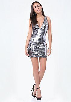 Sofia Sequin Deep V Dress