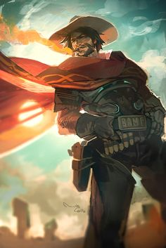 """Overwatch Jesse McCree fanart by theminttu on Tumblr   theminttu: """"All the high noon jokes have been made. I got nothing."""""""