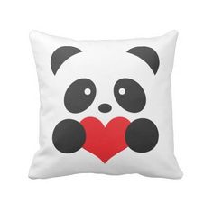 Panda with a heart pillow ($40) ❤ liked on Polyvore featuring home, home decor, panda, pillow and heart home decor