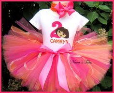 Birthday  Dora with Number, Party Outfit,Tutu Set, Dora Party, Theme  Parties in Sizes 1yr thru 5yrs. $64.00, via Etsy.