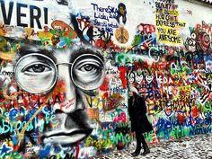 @Alongcamejen at the John Lennon Wall in #Prague. ✌+