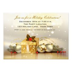 Elegant Golden Holiday Party Custom Invite