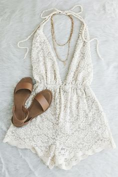 cream, white, lace romper, bridal, bride, halter, deep v neck, open back, gold necklace, tan sandals, flat lay, summer, spring // The Copper Closet, fashion, boutique, clothing, affordable, style, woman's fashion, women fashion, online shopping, shopping, clothes, girly, boho, comfortable, cheap, trendy, outfit, outfit inspo, outfit inspiration, ideas, Jacksonville, Gainesville, Tallahassee Florida, photo shoot, look book