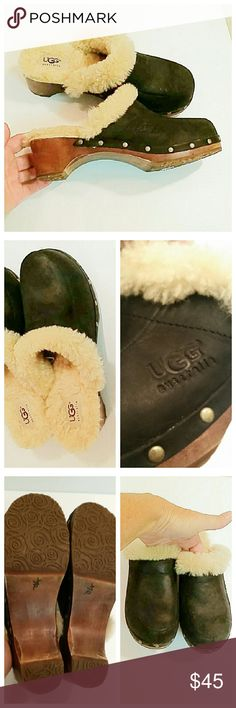 Ugg dark blue fur lined clogs In excellent condition.  The only wear was around the inside of the house. UGG Shoes Mules & Clogs