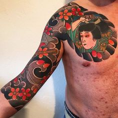 Japanese tattoo sleeve by @pino_cafaro. #japaneseink #japanesetattoo #irezumi #tebori #colortattoo #colorfultattoo #cooltattoo #largetattoo #armtattoo #chesttattoo #tattoosleeve #flowertattoo #cherryblossomtattoo #samuraitattoo #wavetattoo #naturetattoo