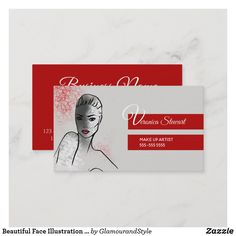 Beautiful Face Illustration Business Business Card Fashion Business Cards, Face Illustration, Grey Stripes, Creative Business, Things To Come, Artist, Artwork, Prints, How To Make