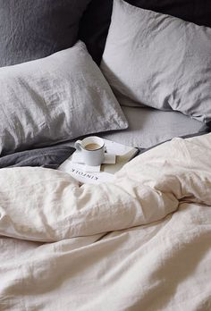 Gray linen pillowcases