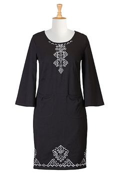 Embellished cotton knit shift dress