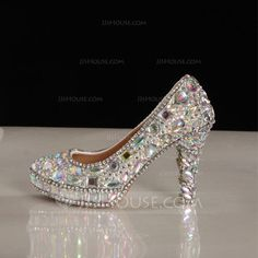Women's Real Leather Chunky Heel Closed Toe Pumps With Rhinestone (047046189)