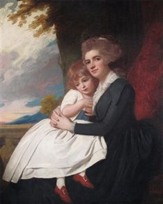 Portrait of Mrs Thomas Raikes, neé Charlotte Finch, with her daughter, George Romney Potrait Painting, Portrait Art, Classic Paintings, Beautiful Paintings, 18th Century Fashion, Historical Women, Renaissance Art, Mother And Child, Female Art
