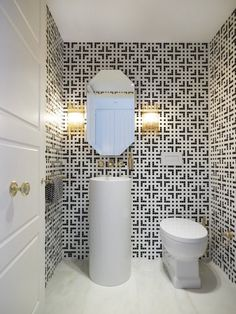 great guest bathroom: tiled walls