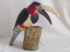 sculpture originale raku animaux oiseau toucan équatorial céramique grès Danièle Meyer (
