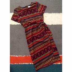 """Vintage southwest print faux wrap dress Vintage southwest print faux wrap dress. Kathie Lee brand. Great condition. Button up back. 30"""" waist. Vintage size 12, modern 8. Vintage Dresses Midi"""