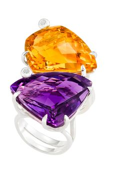Marcia Budet's sterling silver rings with amethyst, citrine and diamonds. [Courtesy Photo]