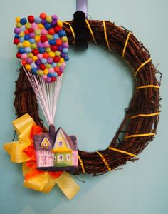 Disney & Pixar's UP House Wreath by AtomicWonderland on Etsy, $35.00  Disney themed party decoration