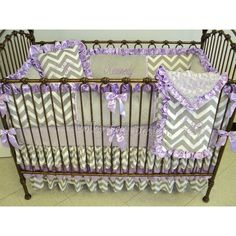 Lavender & Gray Baby Girl Bedding ($170) ❤ liked on Polyvore featuring home, children's room, children's bedding, baby bedding, bedding, grey and home & living