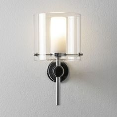 The Arezzo bathroom wall-light has a polished chrome finish and white opal glass diffuser, as well as a clear glass shade. This product is rated and is suitable for bathroom zones 2 and Bathroom Mirror Lights, Glass Wall Lights, Mirror Lamp, Bathroom Sconces, Mirror With Lights, Wall Sconces, Bathroom Lighting, Loft Bathroom, Bathrooms