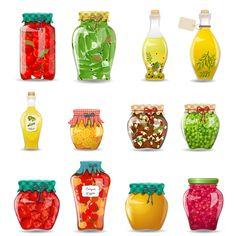 Imagen vectorial de alimentos en conserva sanos y naturales en frascos. Descarga gratuita.