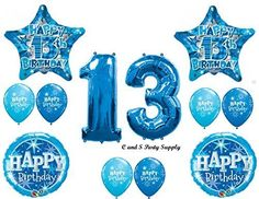 BOYS 13TH Teenager Balloons Birthday party Decoration Supplies Thirteen Girl by Anagram >>> Be sure to check out this awesome product. (This is an affiliate link)