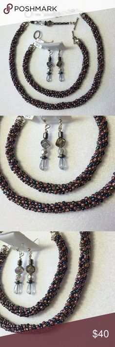 "Handmade OOAK Kumihimo & Hematite 3Pc. Jewelry Set Intricately woven mauve and black seed beads comprise the base for this set.  Then added hematite and glass beads finish off the look.  The 18"" necklace and the 8"" bracelet both feature toggle closures and the 2"" hook earrings go nicely and have secure stoppers.  Thanks for checking out my creations! 💗 Handmade Jewelry"