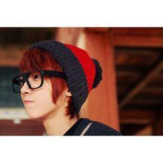 cute boy • asian • glasses• cap • red hair