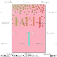 Pink Flamingo Party Number Table Cards